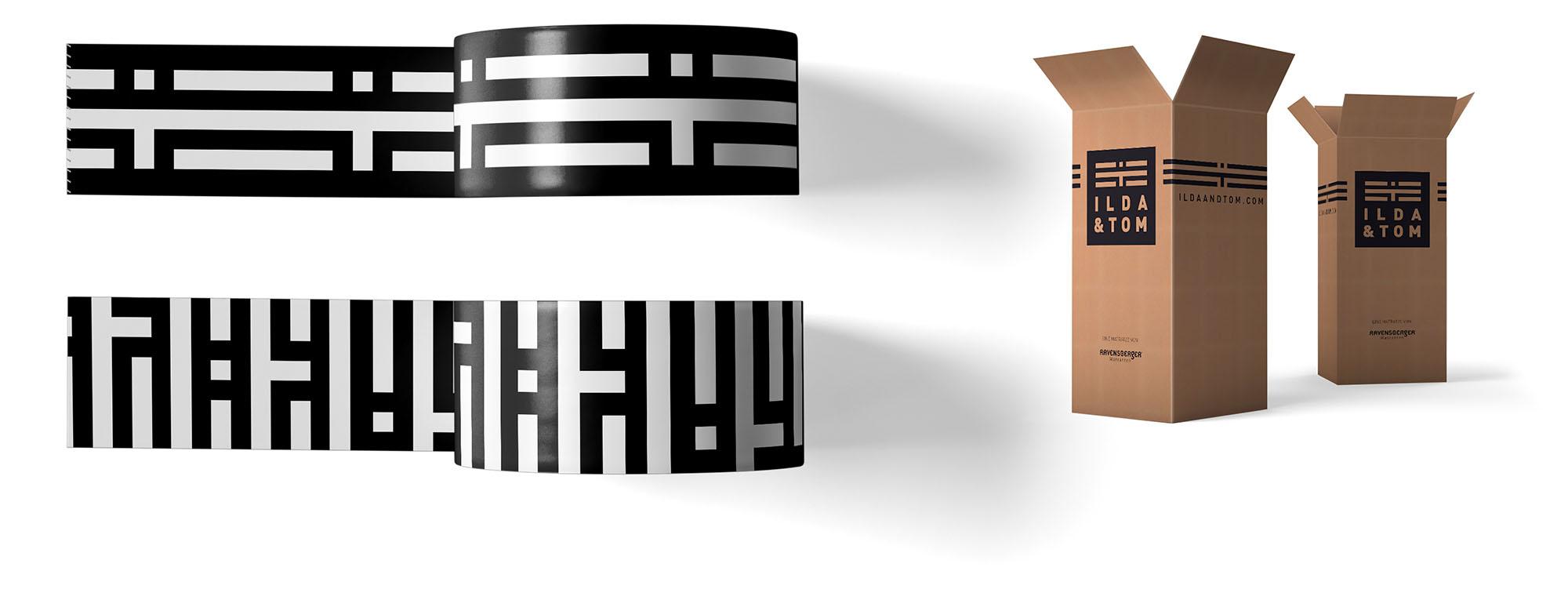 Branding auf zwei Rollen Packband und zwei Versandkartons