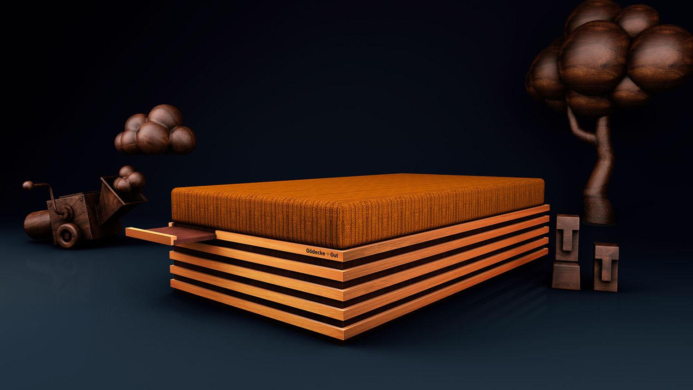 Entwurf einer stylischen Bettkonstruktion Matratzenpodest für die Auflage einer Matratze