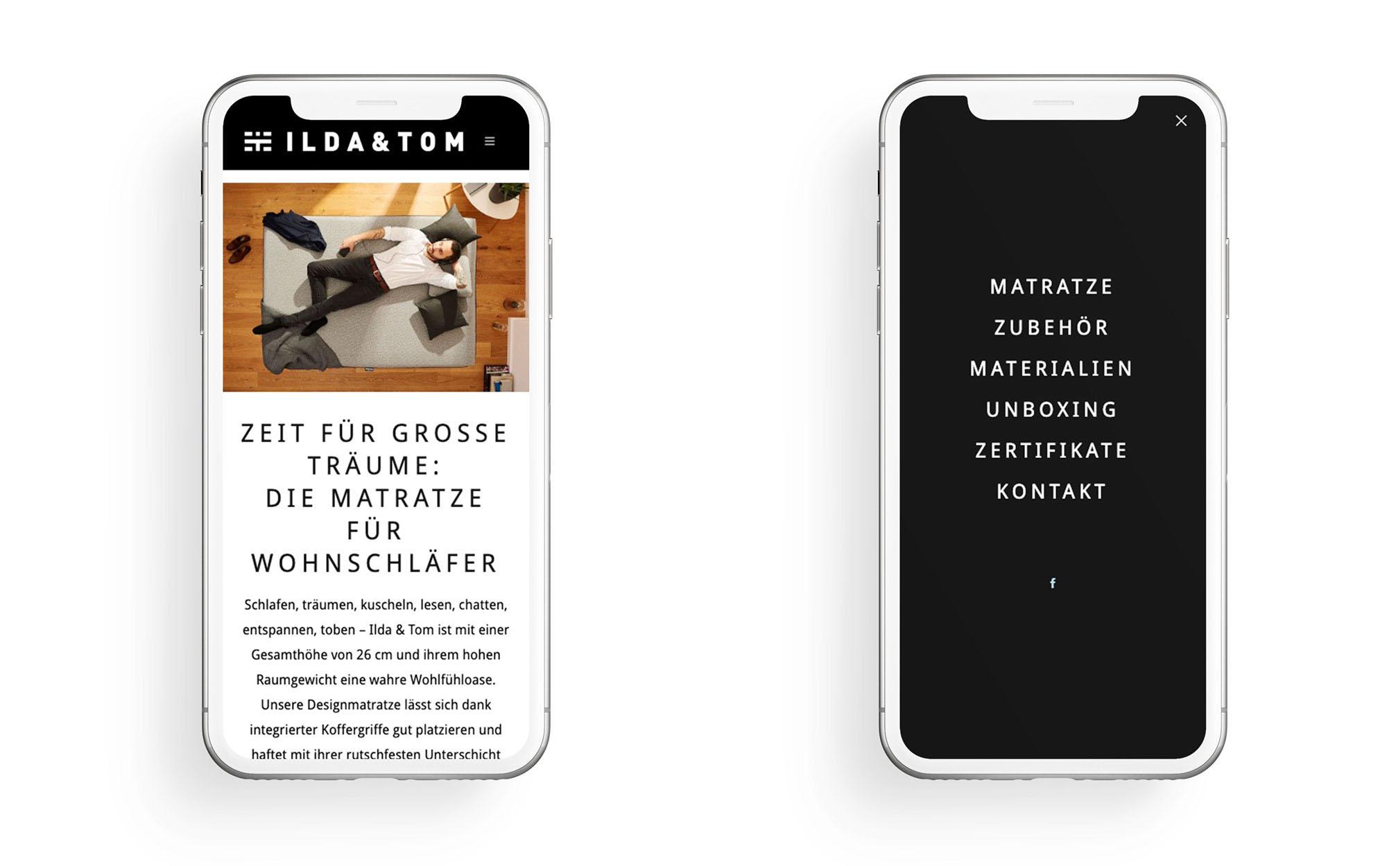 Responsives Webdesign einer Microsite auf zwei Smartphones