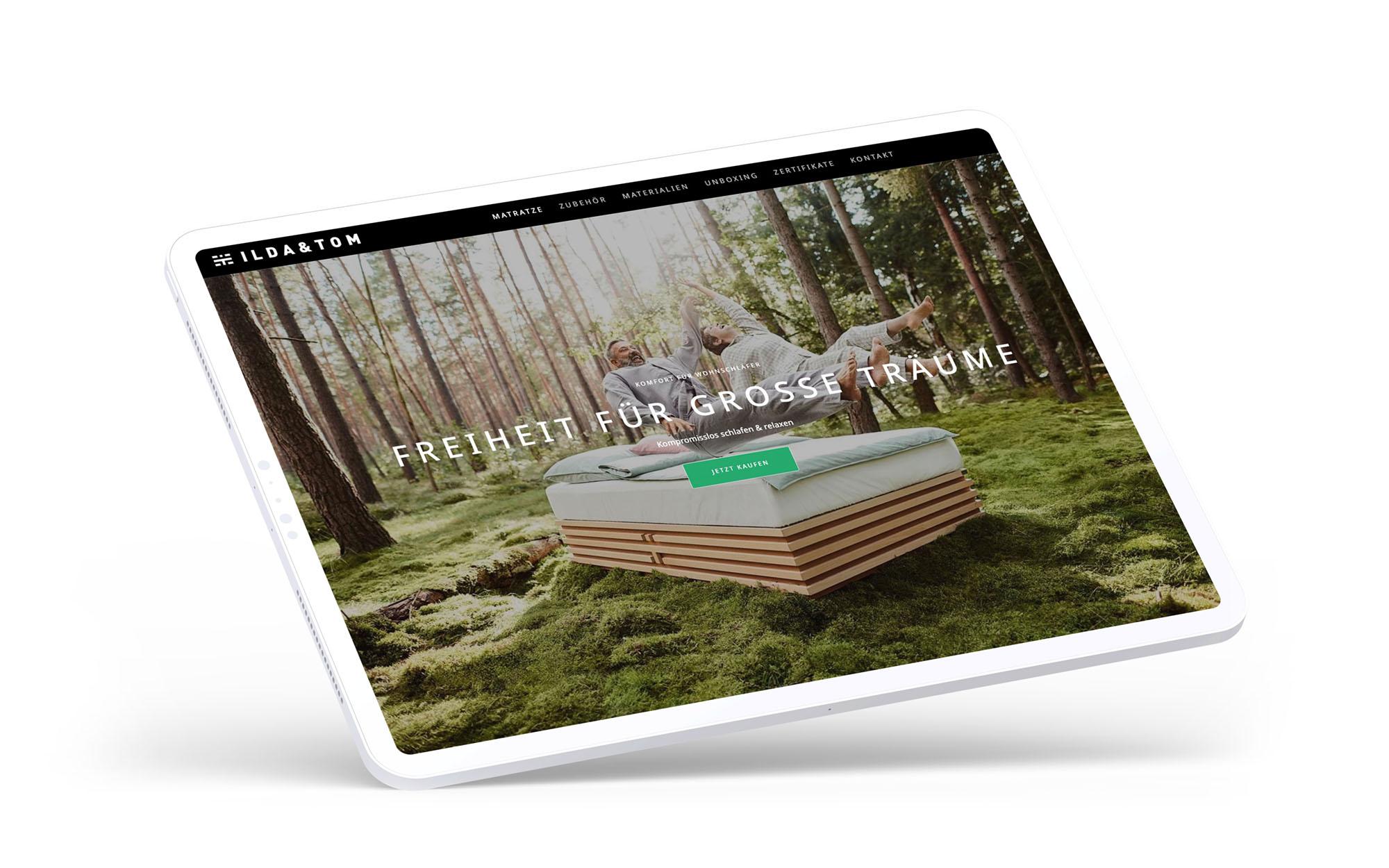 Responsives Webdesign einer Microsite auf einem Tablet