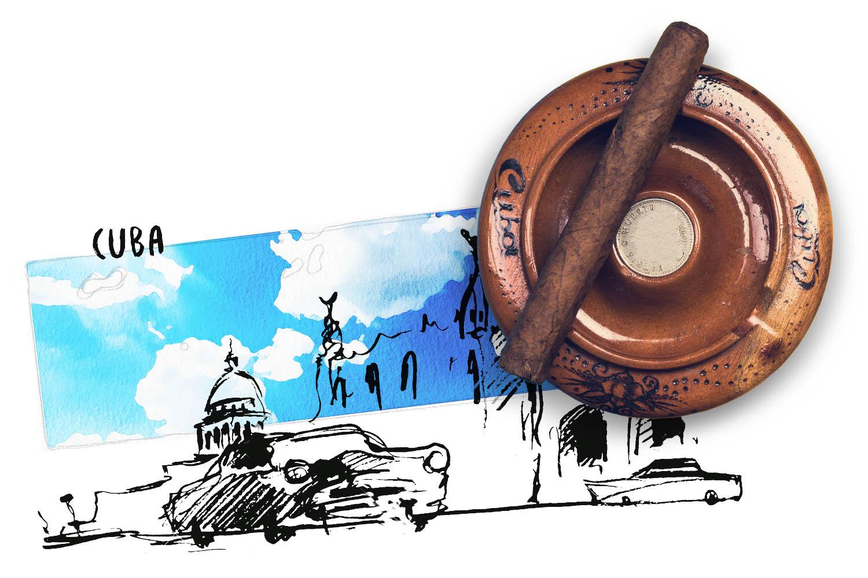 Aschenbecher mit Zigarre und Illustration Kuba