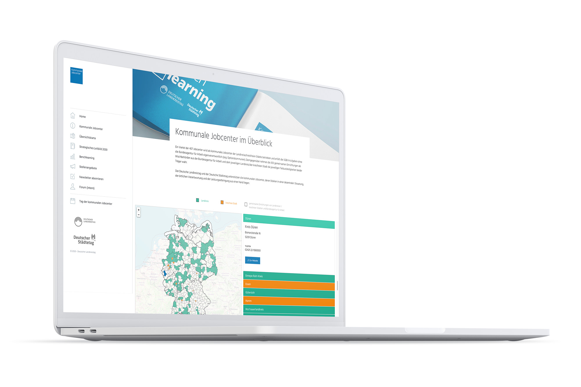 Responsive Website auf einem Laptop