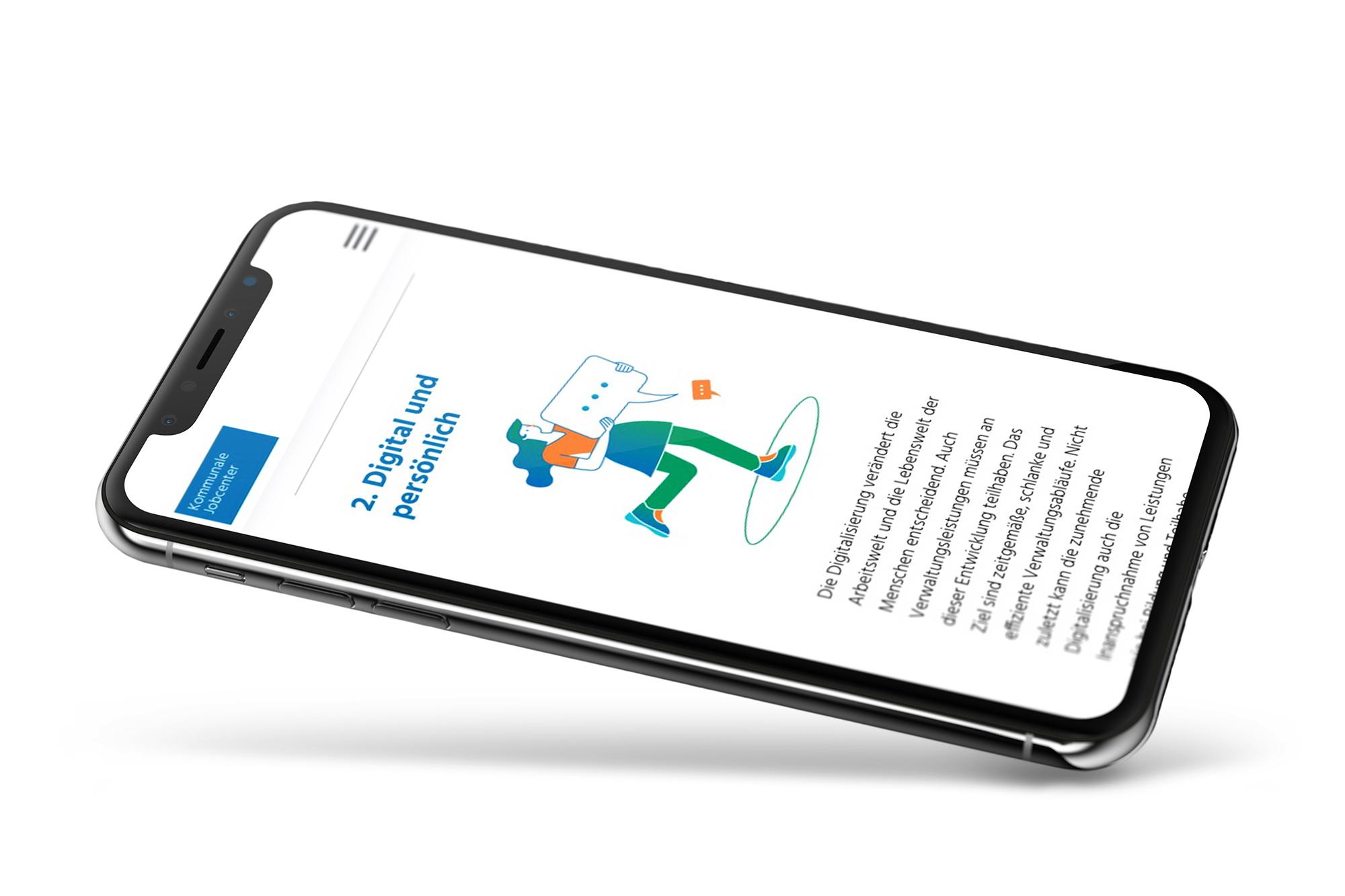 Responsive Website auf einem Handydisplay