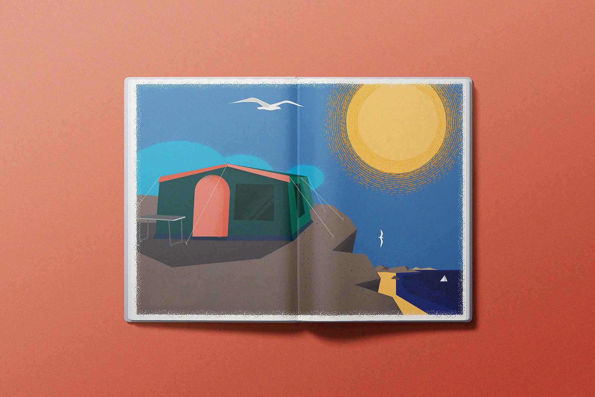 Illustration Zelt mit Möve und Sonne auf einer Steilküste