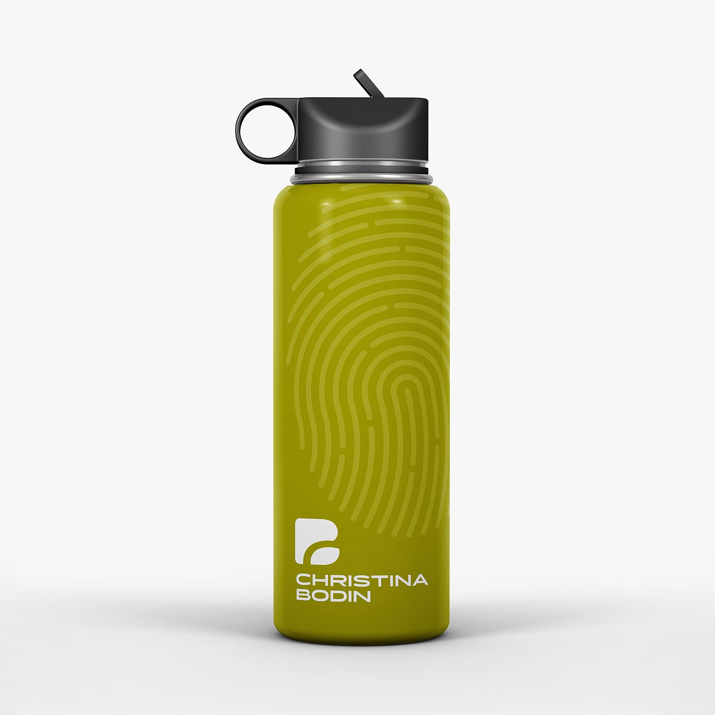 Grüne Trinkflasche mit Corporate Design
