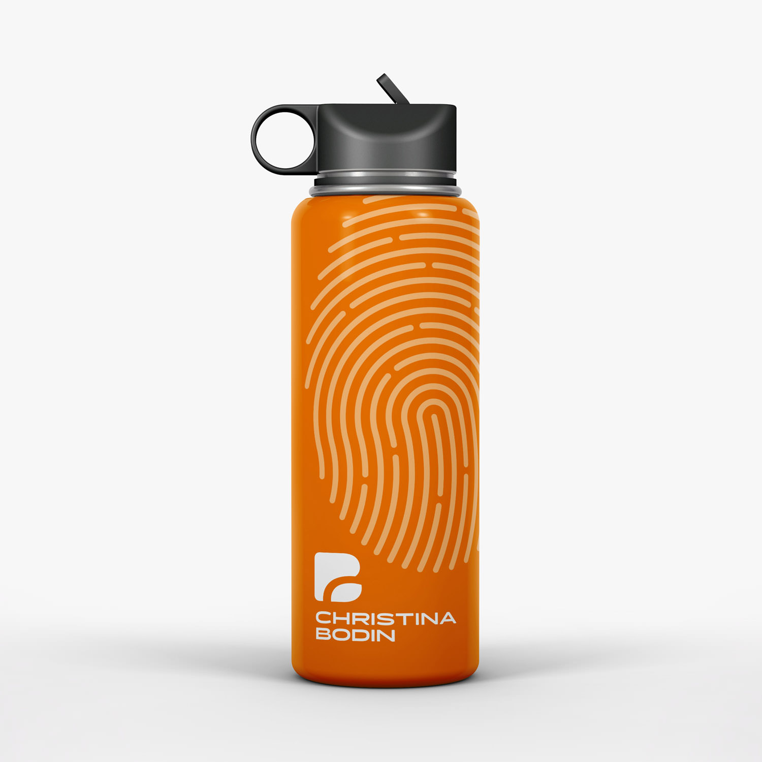 Orange Trinkflasche mit Corporate Design