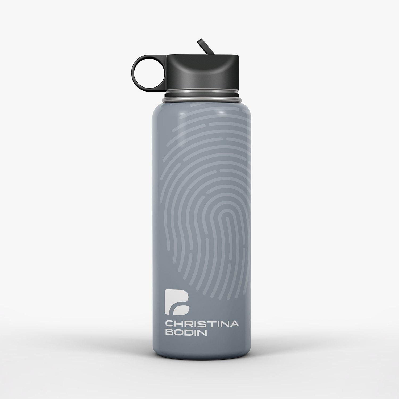 Graue Trinkflasche mit Corporate Design